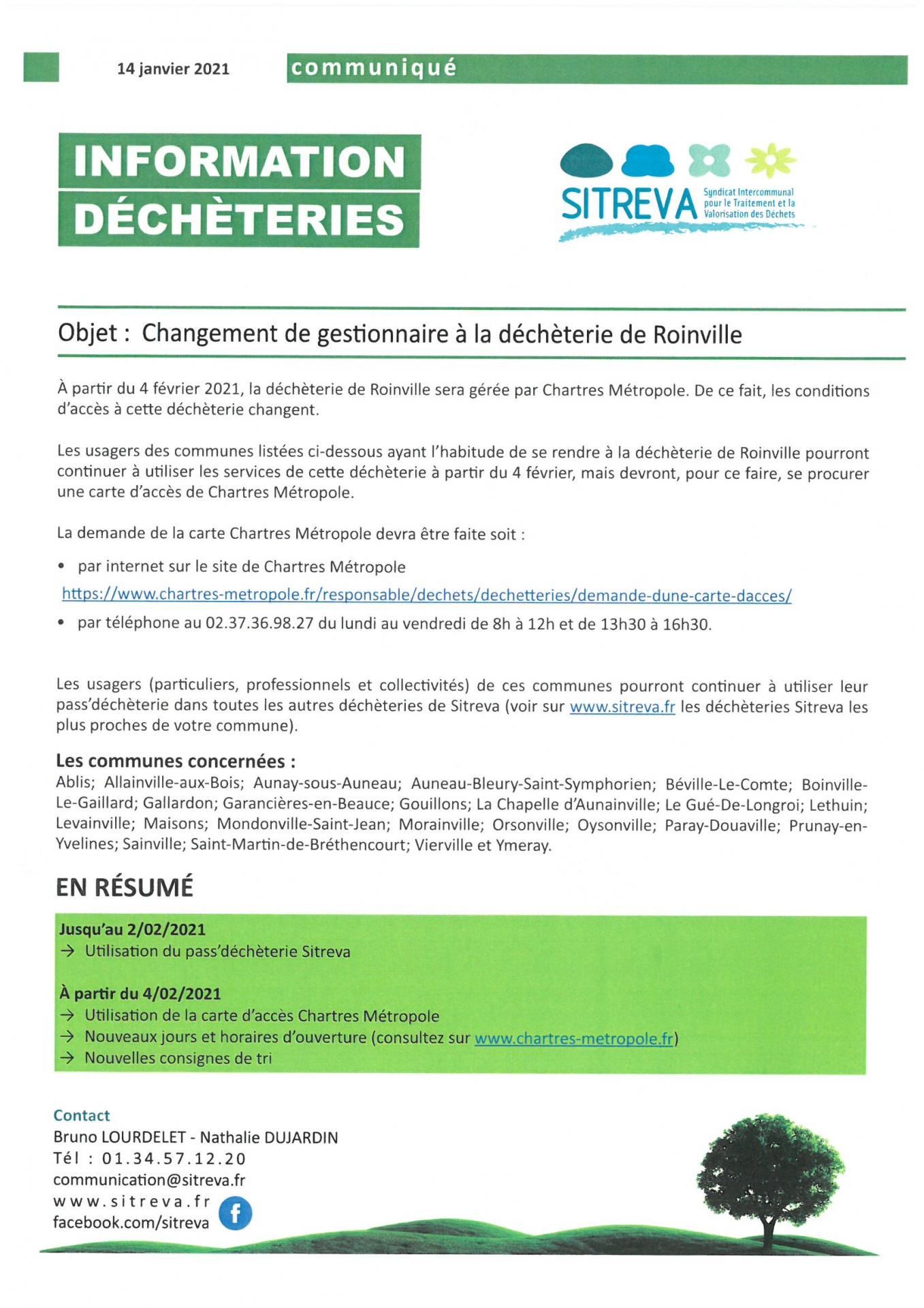 Changement gestion de la Déchètterie Roinville