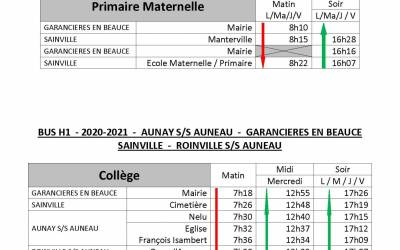 horaires transports scolaires 2020/2021