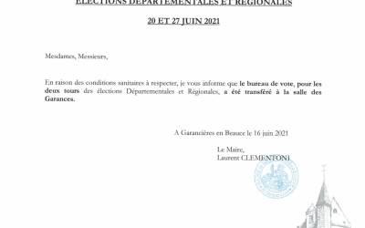 Elections Départementales et Régionales - 20 et 27 JUIN 2021