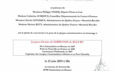 invitation de la pose de la plaque commémorative en hommage à Jacques-Charles de Sabrecois de Bleury le 21 juin 2019